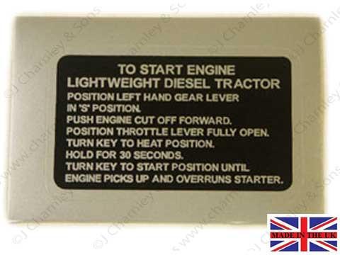 BTJ3981 LEYLAND DECAL - TO START ENGINE